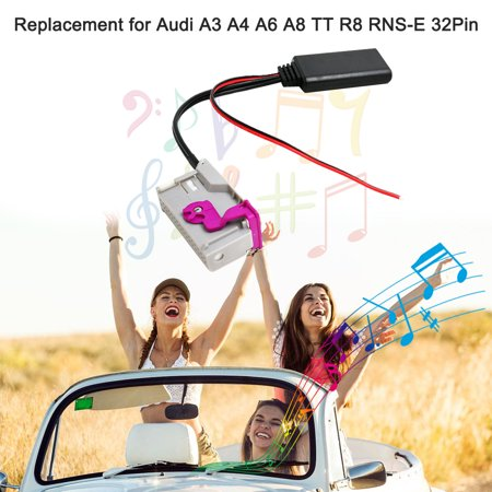 Car AUX-in Audio Adapter with 4 Radio Tools Wireless BT Aux Cable Replacement for Audi A3 A4 A6 A8 R8 RNS-E 32Pin - image 5 de 6