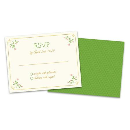 Sweet Floral Printing (Personalized Sweet Floral Wedding RSVP)