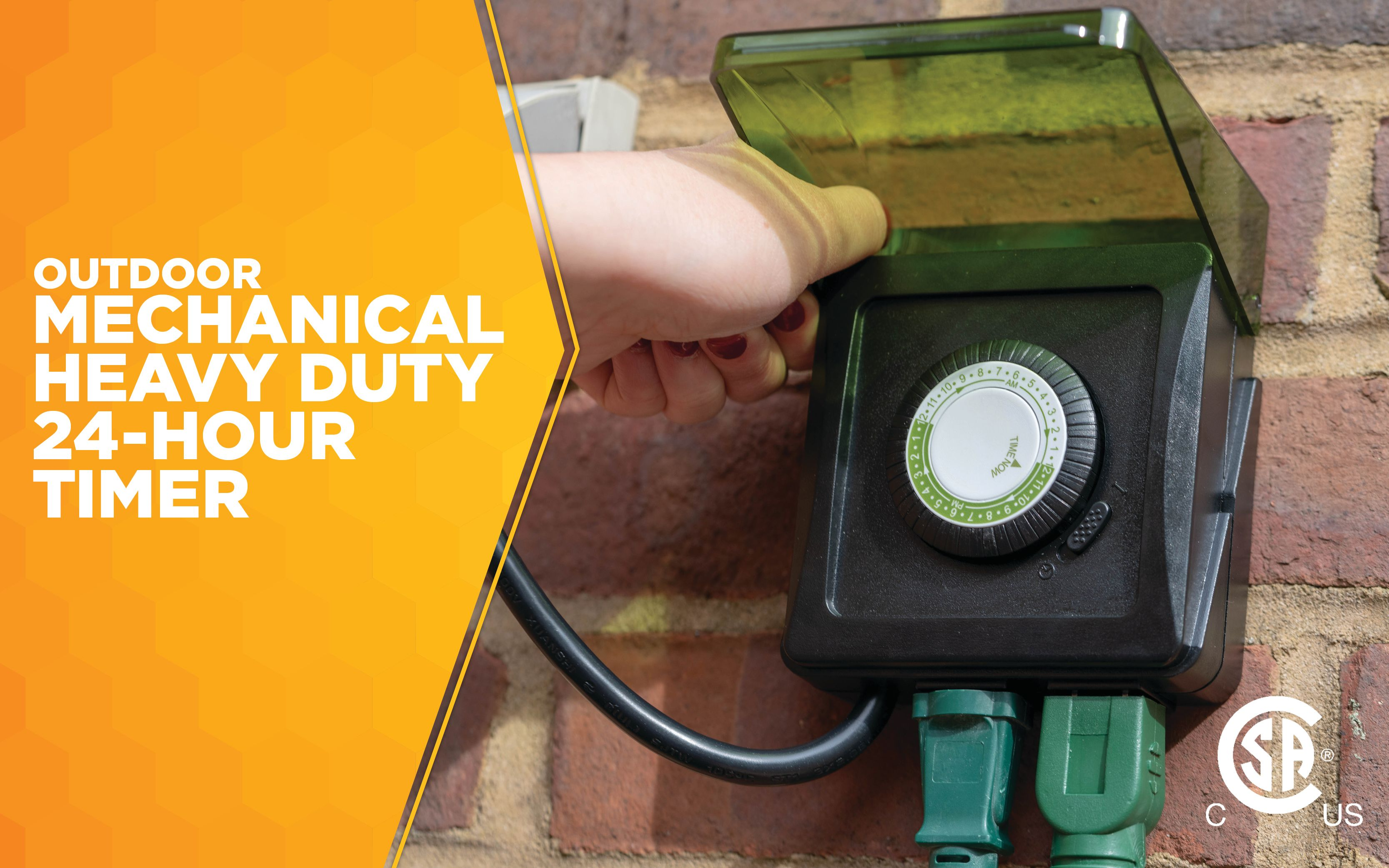 Waterproof Heavy Duty Outdoor Mechanical Fountain Timer w// 2 Outlet