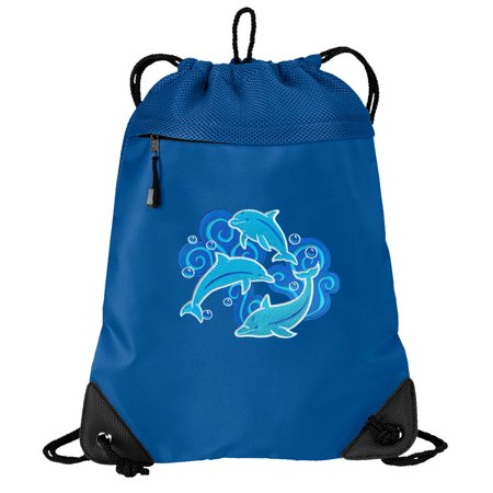 Dolphin Cinch Backpack Dolphins Drawstring Bag String Pack Mesh & Microfiber - Two Sections](Mesh Drawstring Backpack)