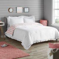 Better Homes & Gardens White Reversible Ruffle Border Comforter Set