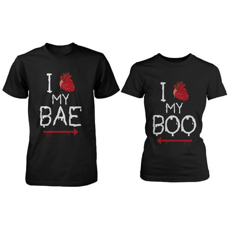 I Heart My Bae and Boo Pointing Each Other Matching Couple Shirts for - Famous Literary Couples Halloween
