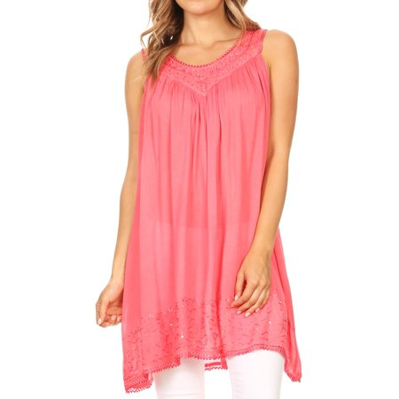 Sakkas Rita Womens Picot Trim V Neck Tank Blouse With Seqins And Embroidery - Coral - One Size (Columbia Womens Coral)