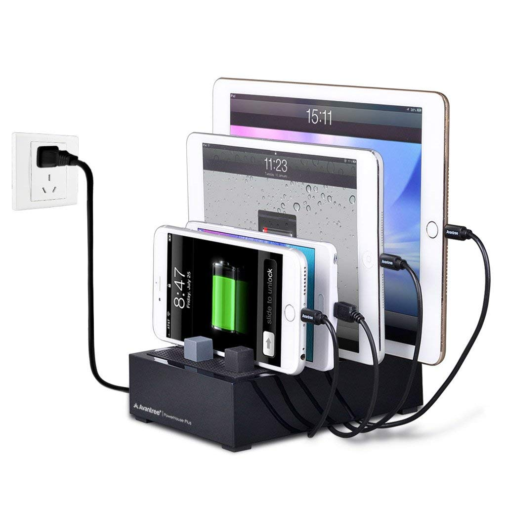 4 Port Desktop USB Charging Station Organizer for Multiple Devices, Home Family Docking Stand Multi Charger Station with Cable Management for Apple iPhone iPad Tablets [2 Year Warranty]