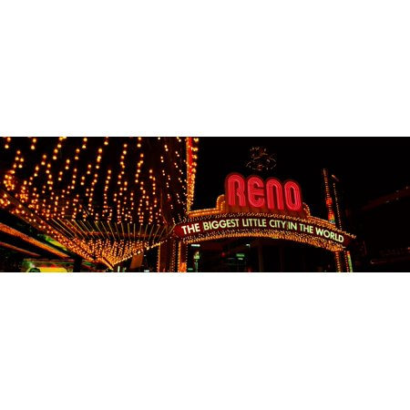 Panoramic view of Biggest Little City in America Reno Nevada neon lights and casinos Stretched Canvas - Panoramic Images (27 x - Party City Reno Nevada