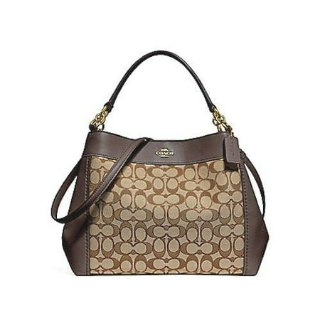 NEW COACH (F29548) KHAKI BROWN SMALL LEXY CANVAS LEATHER SHOULDER BAG (Gucci Canvas Shoulder Bag)