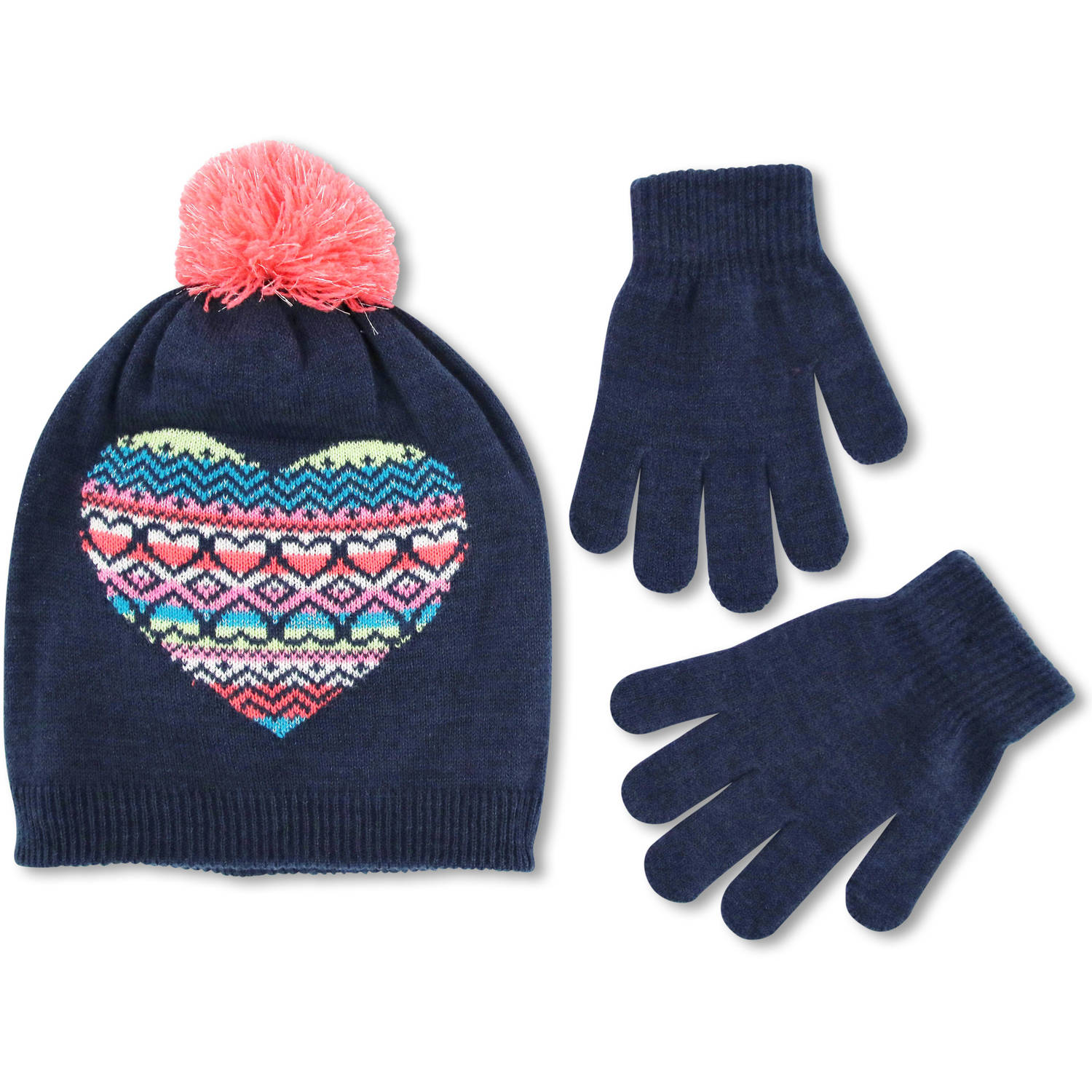 Image of ABG navy blue fair isle heart pom knit beanie hat with magic glove set.