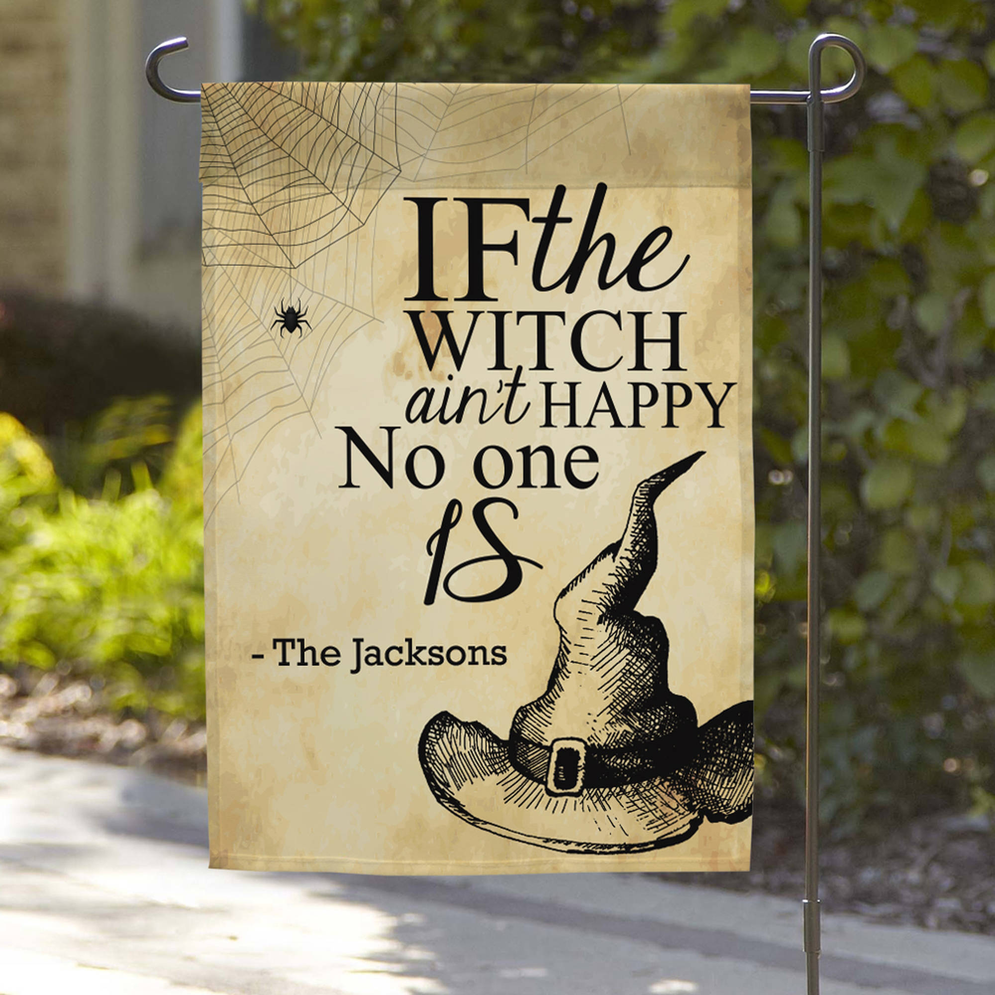 "Personalized Witches Hat Garden Flag, 18"" x 12"""