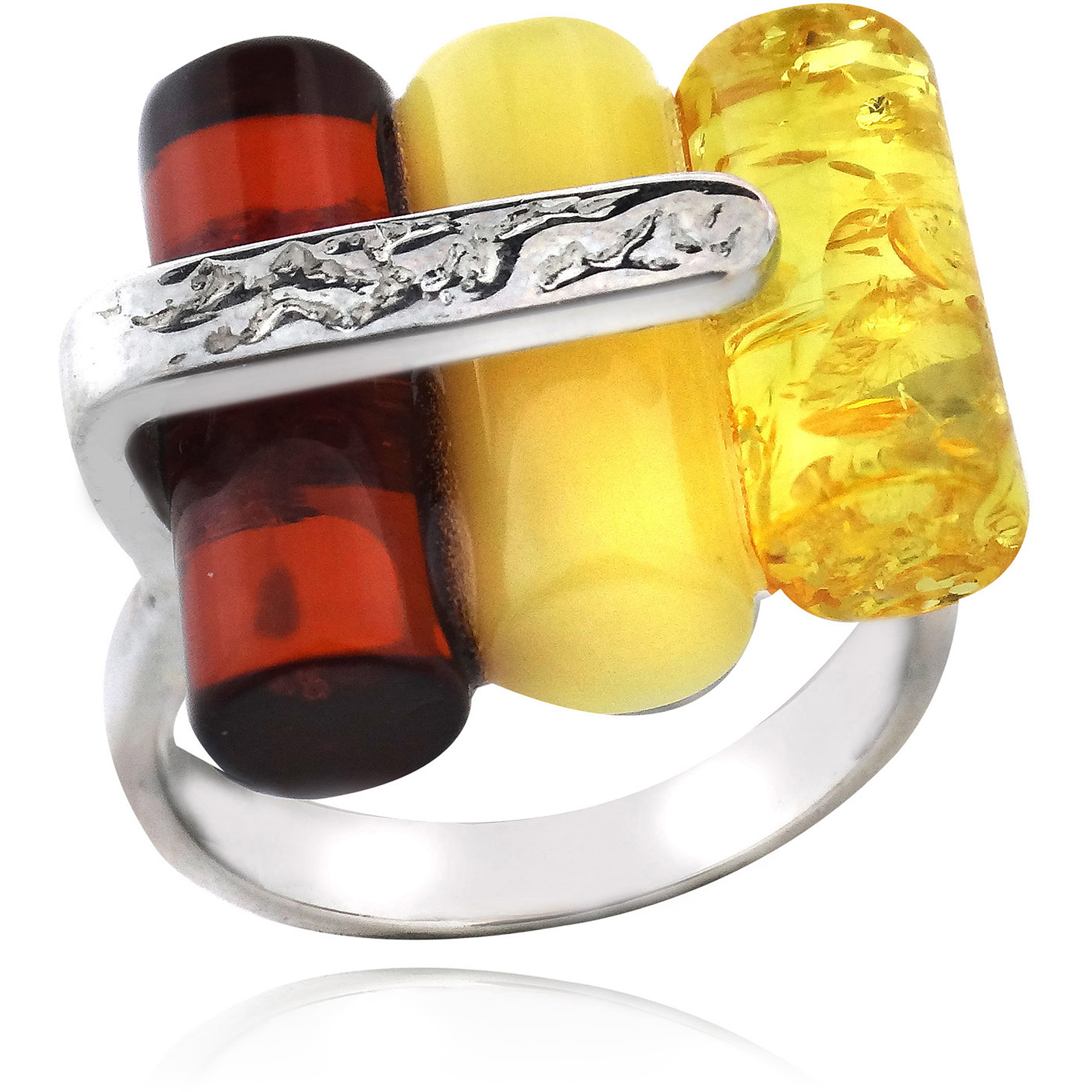 Amber Nights Sterling Silver Cylinder Shape Ring, Size 8