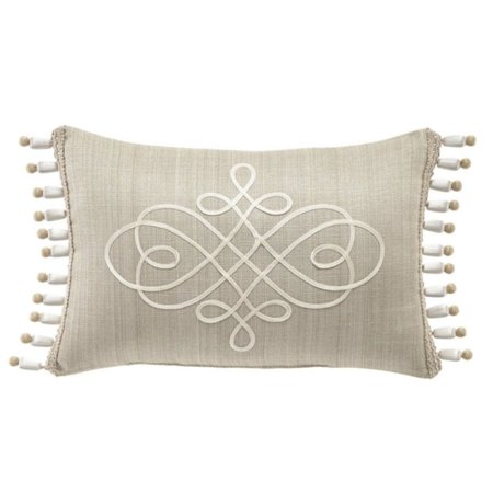 Croscill Victoria Polyester 18 Inches x 12 Inches Boudoir Throw Pillow, Taupe/Ivory Ivory Boudoir Pillow