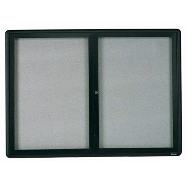 Aarco Products RAB3648BL Enclosed Bulletin Board with Sleek Radius Design - Graphite