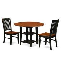 East West Furniture SUWE3-BCH-W 3 Piece Sudbury Set, Rich Black & Cherry