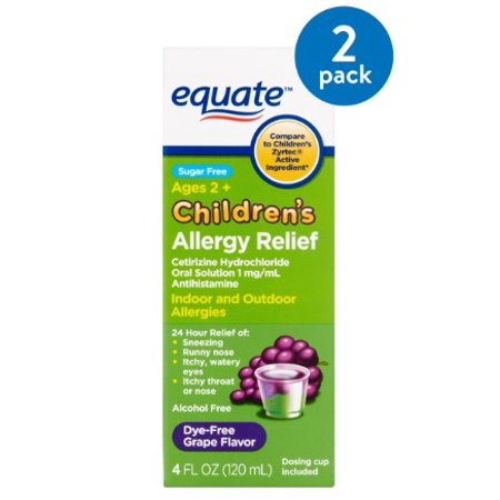 (2 Pack) Equate Children's Allergy Relief Cetirizine Suspension, Grape Flavor, Sugar-Free, Dye-Free, 4 Oz Childrens Allergy Relief Treatment