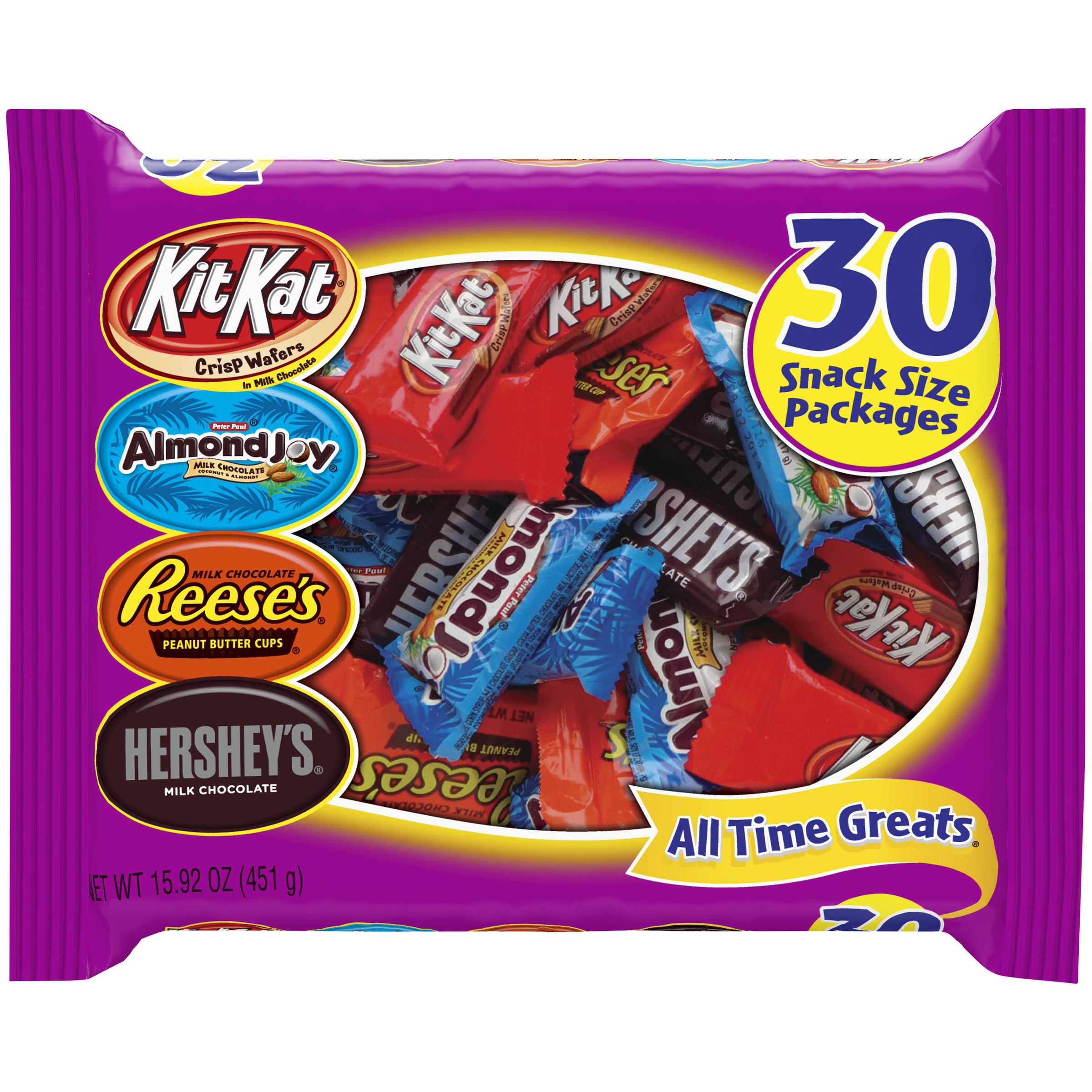 HERSHEY'S All Time Greats Snack Size Assortment, 30 pieces, 15.92 oz