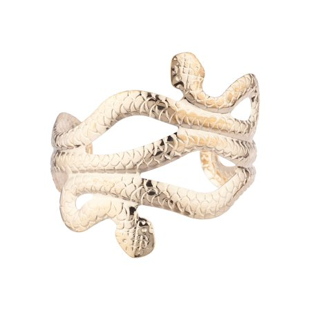 Lux Accessories Gold Tone Two Headed Wrapped Snake Fashionable Bangle Bracelet