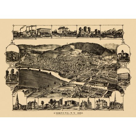 Antique Map of Corning New York 1882 Steuben County Poster Print (8 x 10) County New York Antique Map