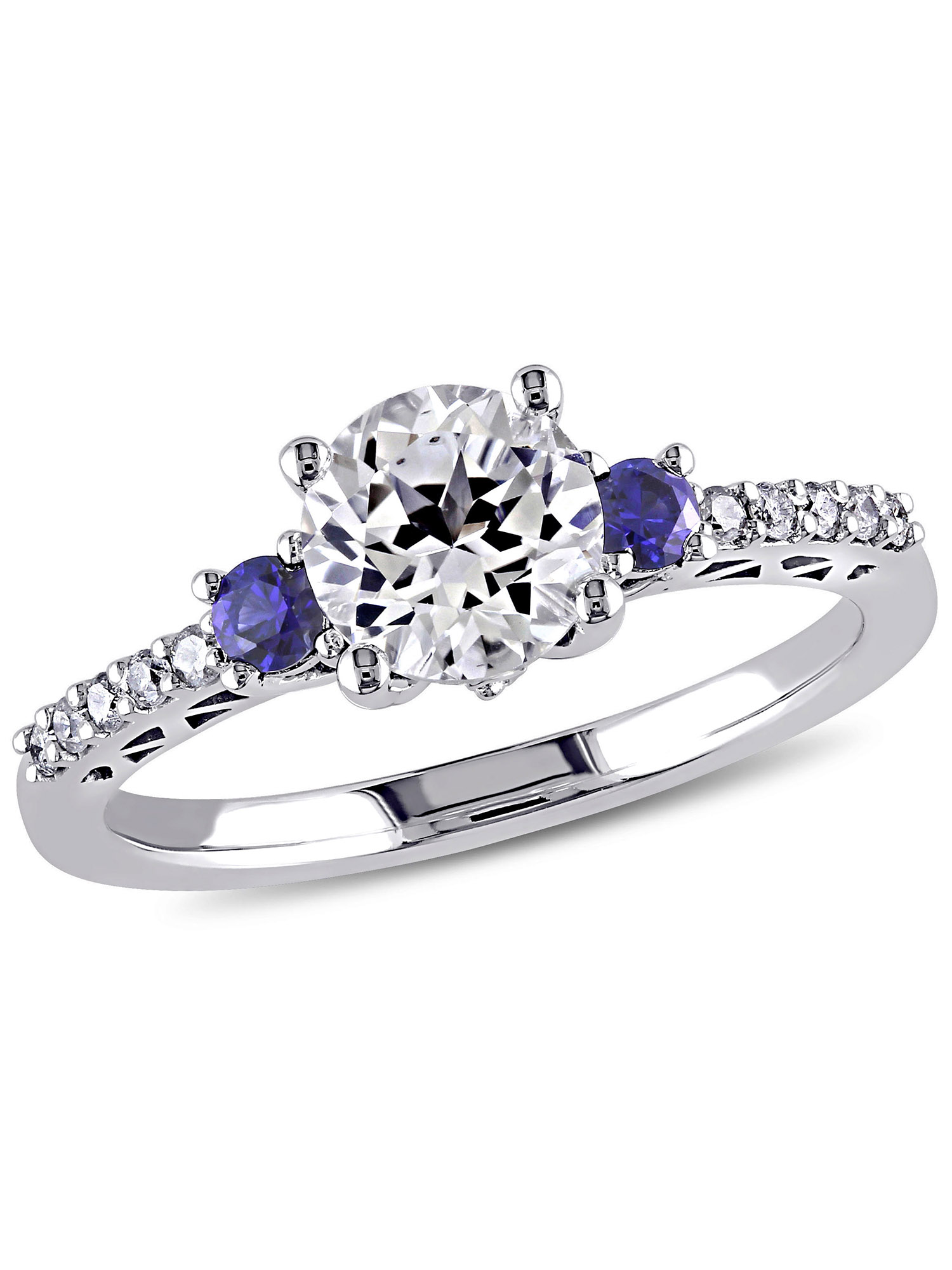 1-3/5 Carat T.G.W. Created White and Blue Sapphire and Diamond-Accent 10kt White Gold Engagement Ring