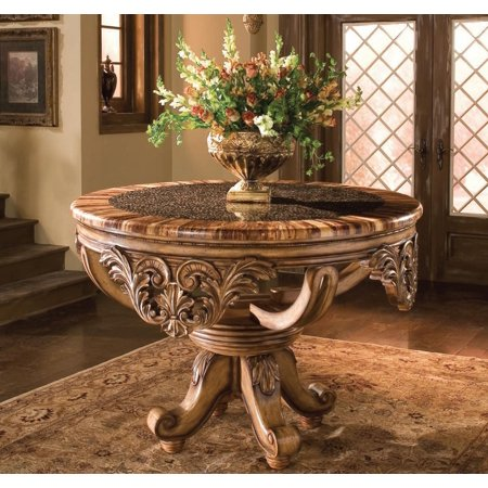 Benetti's Dynasty Luxury Foyer Table w Bamboo Ring Top Hand Carved Wood Sp Order