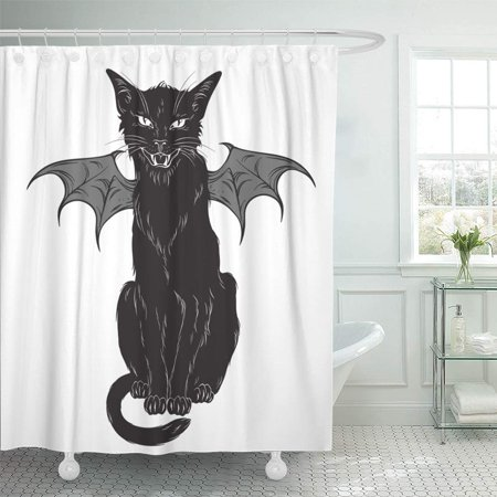 PKNMT Creepy Black Cat with Monster Wings Over White Wiccan Familiar Spirit Halloween Waterproof Bathroom Shower Curtains Set 66x72 inch (Coat Rack Monster Spirit Halloween)
