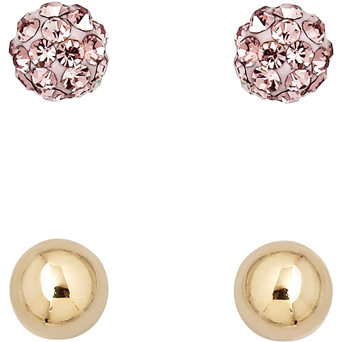 Luminesse 18kt Gold over Sterling Silver Plain and Light-Purple Earrings Set made with Swarovski Elements