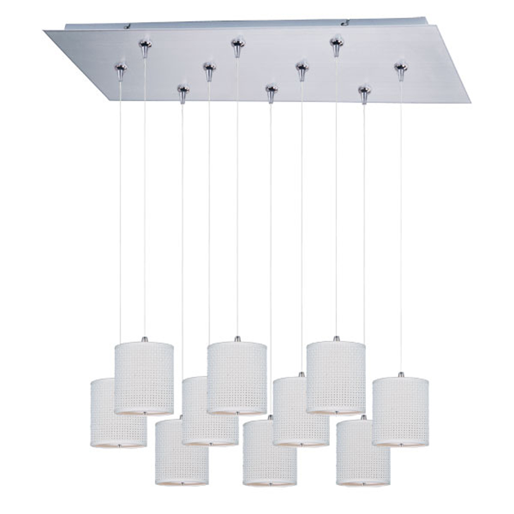 ET2 E95505-100SN Elements 10 Light 7 Inch Drum Shade Foyer Pendant - Bulbs Included, Satin Nickel with White Weave Fabric