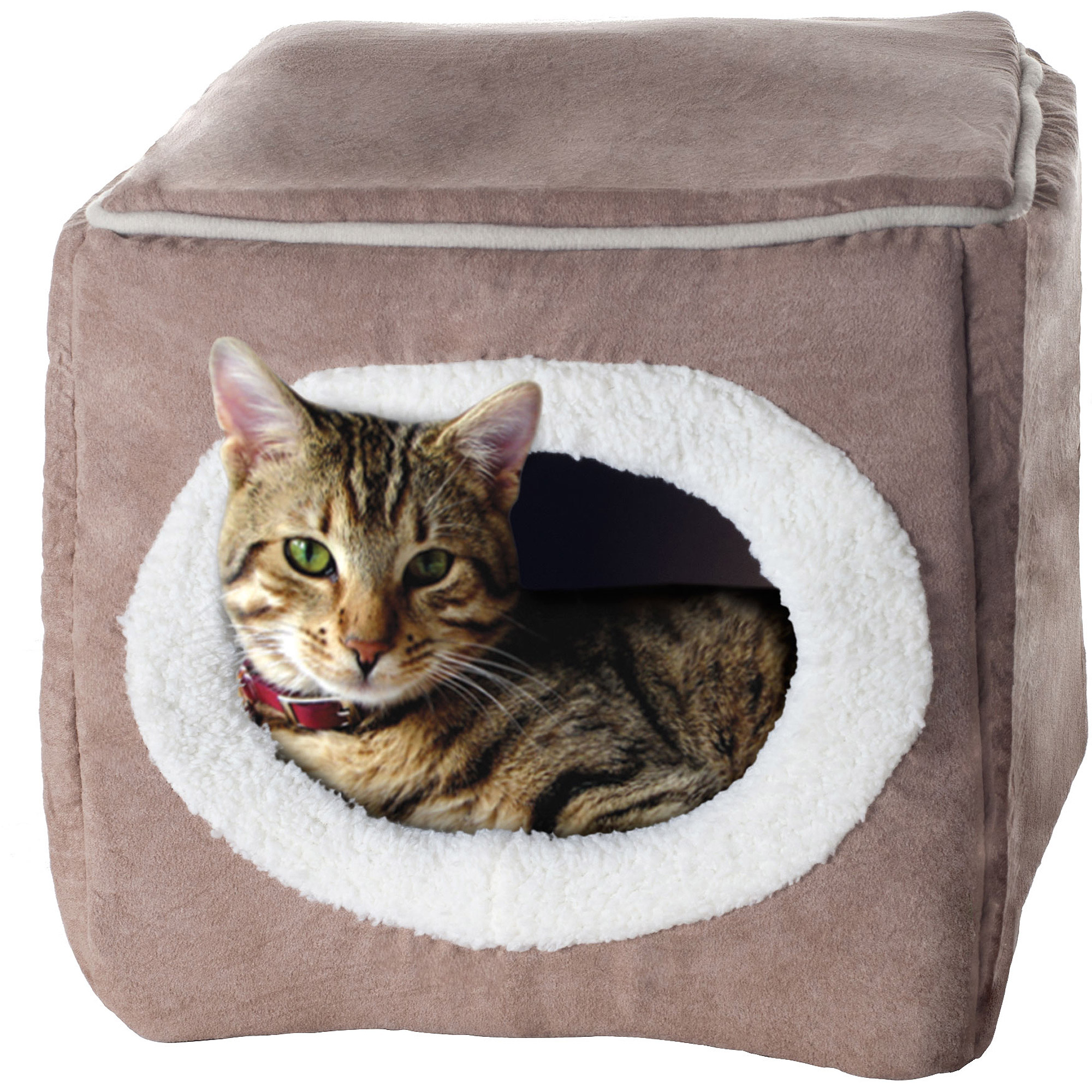 PETMAKER Cozy Cave Enclosed Cube Pet Bed - Light Coffee