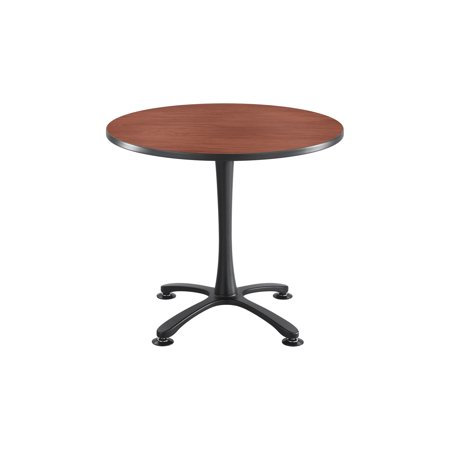 Conference Room Table Bases (2472CYBL Cha-Cha Office Conference 36 Inch Round Shape Cherry Laminate Top With Black Steel Base Sitting Height Table )