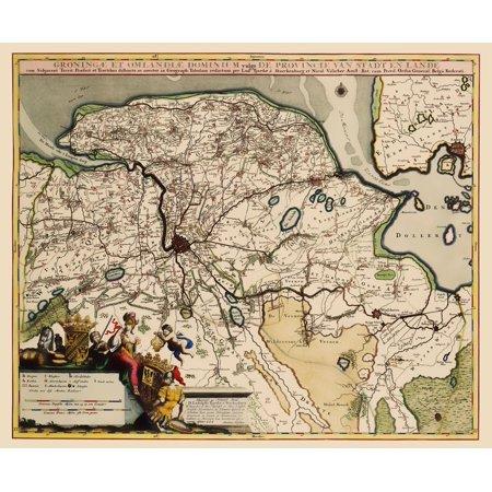 Old Netherlands Map - Groningen Region - Visscher 1681 - 23 x 27.89 ...