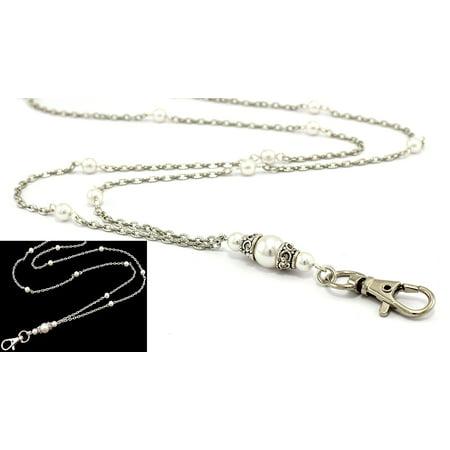 c51c503197d84 Brenda Elaine Jewelry | Women's Fashion Lanyard - 32 Inch Silver Chain with  White Swarovski Pearls & Rear Lobster Clasp