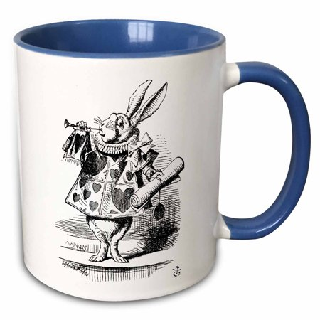 3dRose Alice in Wonderland White Rabbit in costume. John Tenniel illustration - Two Tone Blue Mug, 15-ounce - Rabbit In Alice In Wonderland