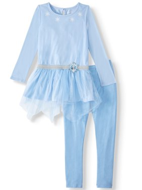 Disney Frozen 2 Exclusive Princess Elsa or Anna Cosplay Fashion Top and Legging, 2-Piece Outfit Set (Little Girls & Big Girls)