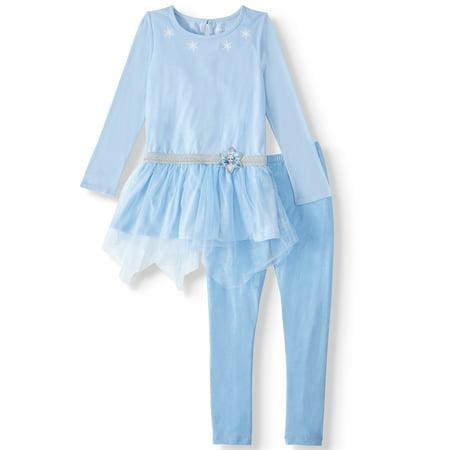 Disney Frozen 2 Princess Elsa or Anna Cosplay Fashion Top and Legging, 2-Piece Outfit Set (Little Girls & Big Girls) ()