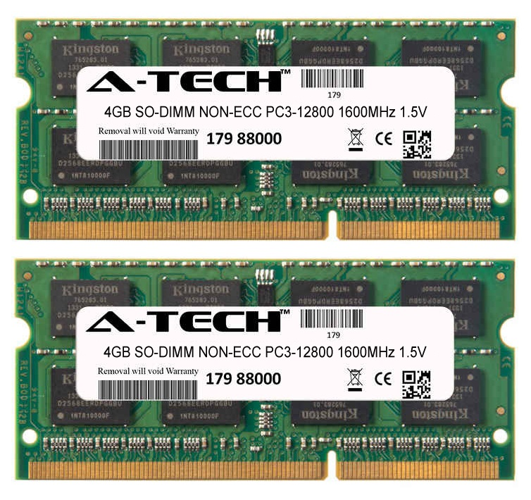 8GB Kit 2x 4GB Modules PC3-12800 1600MHz 1.5V NON-ECC DDR3 SO-DIMM Laptop 204-pin Memory Ram