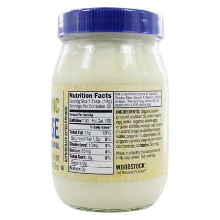 Woodstock Mayonnaise - Organic - with Organic Soybean Oil - Jar - 16 oz - case of 12
