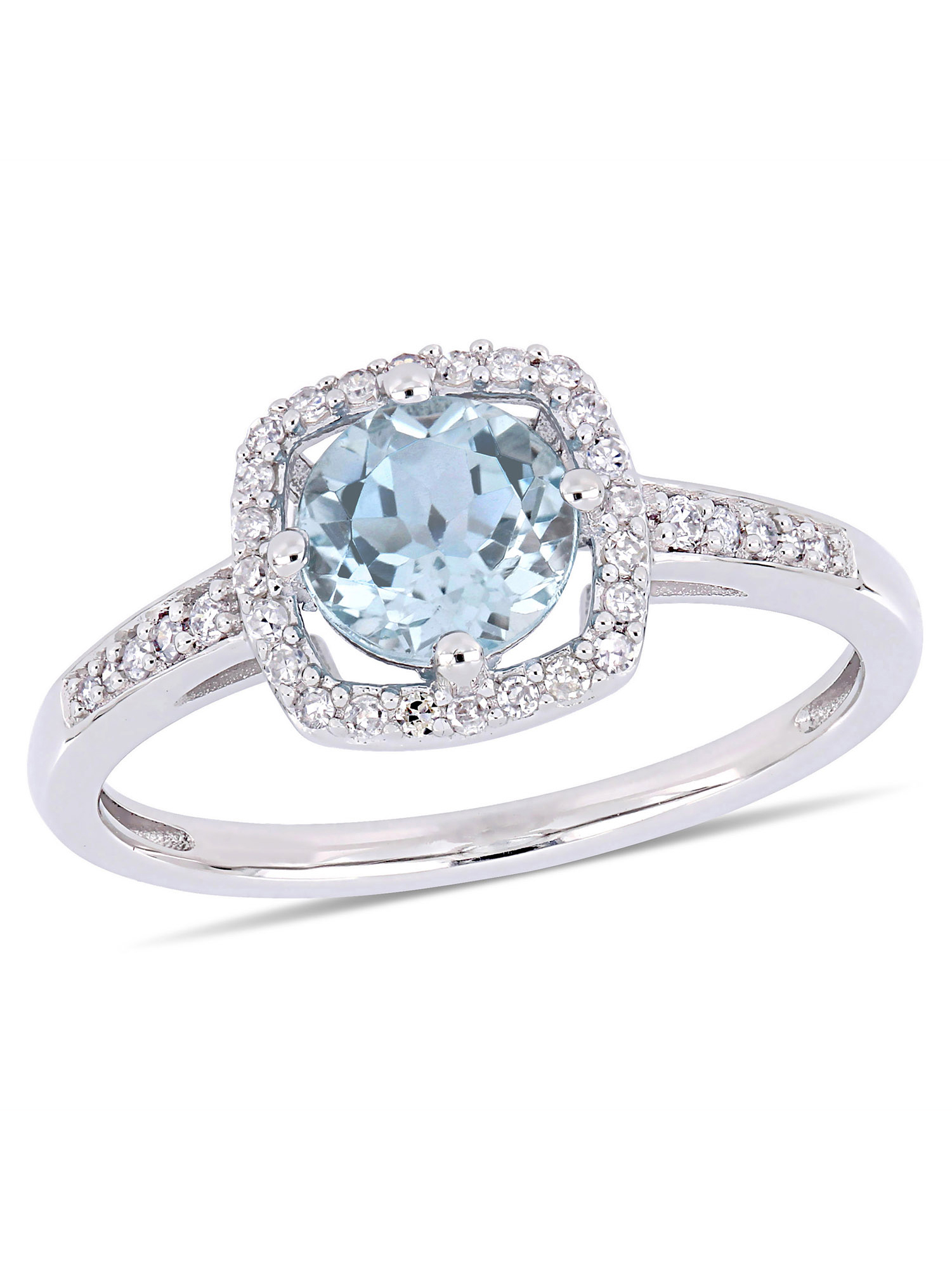 Tangelo 1 Carat T.G.W. Sky Blue Topaz and 1 7 Carat T.W. Diamond 10kt White Gold Halo Ring by Delmar