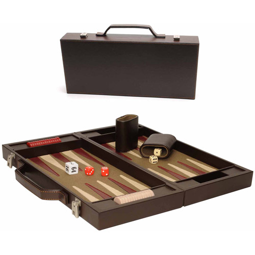 Elegant Brown Backgammon Briefcase, Large by Generic