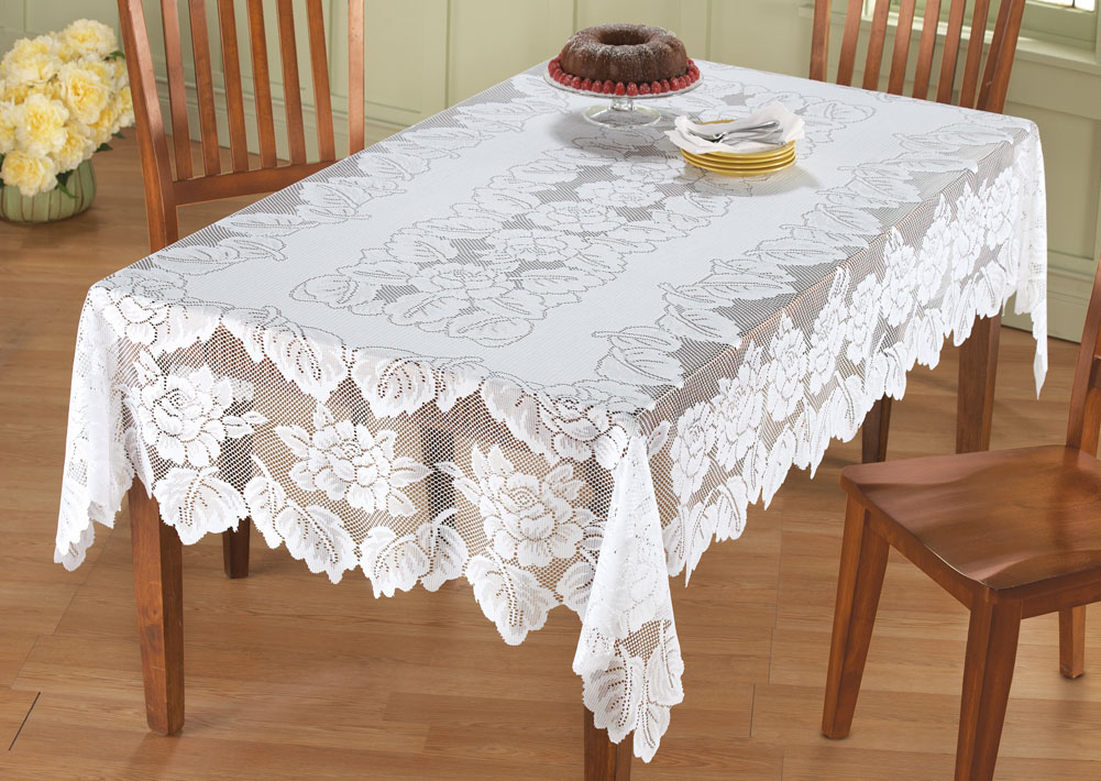 Charmant White Floral Lace Tablecloth, 54 X 72, Rectangle