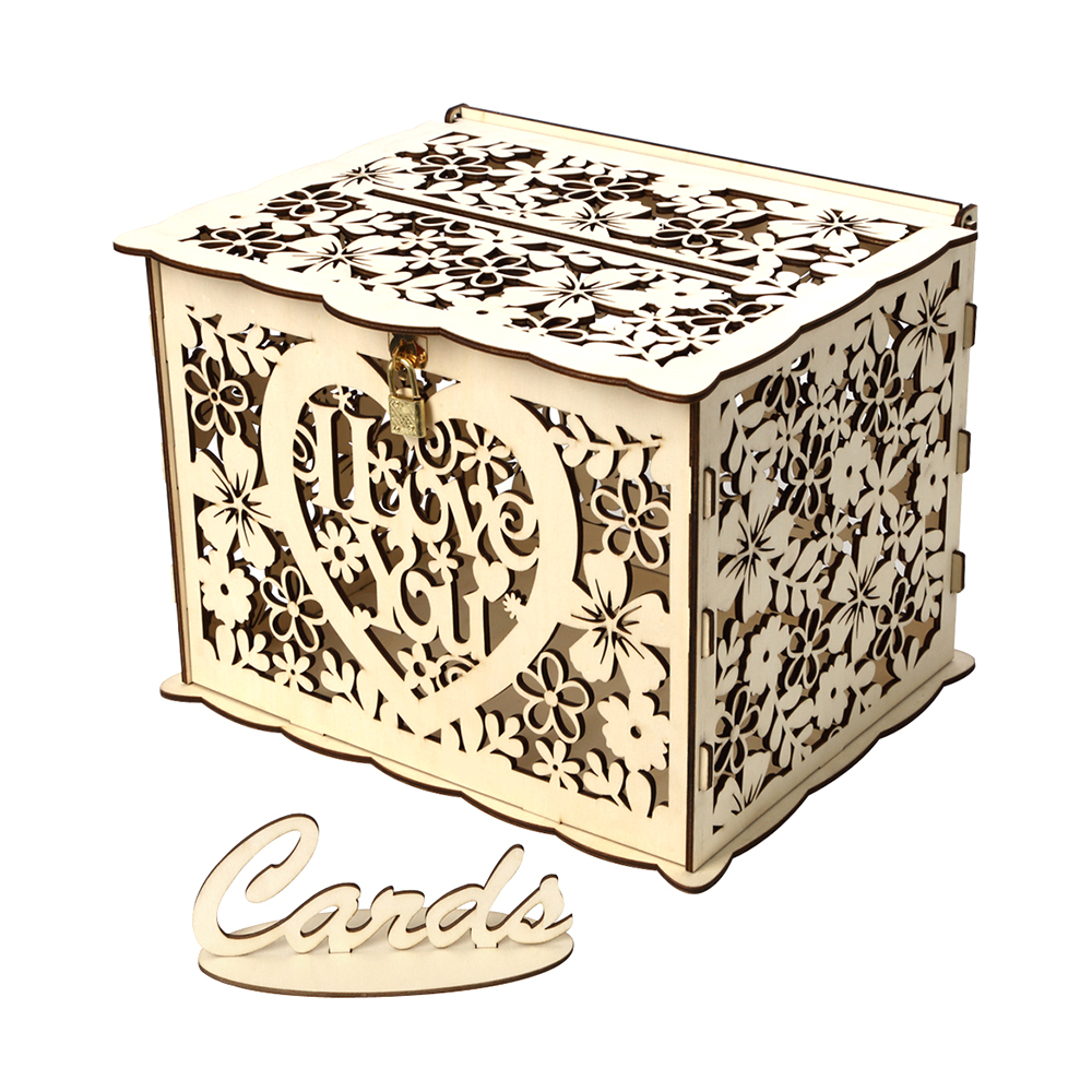 Gift Card Box For Wedding Reception: Wedding Card Box With Lock Rustic Wood Gift Box Card
