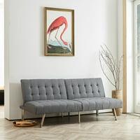Naomi Home Tufted Split Back Futon Sofa-Color:White,Style:Linen