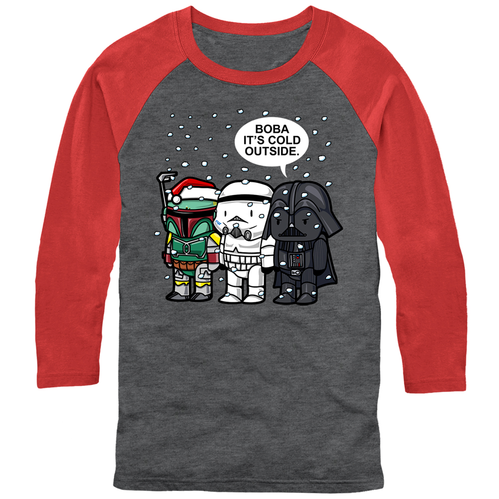 Star Wars Christmas Boba It's Cold Outside Mens Graphic Baseball Tee