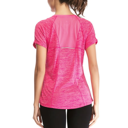 SAYFUT Women's Dry Fit Athletic Shirts Short Sleeve Moisture Wicking Mesh Tops Active T Shirt