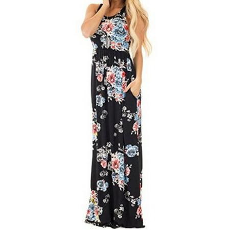 Women Sleeveless Floral Print Casual Bench Long Dress
