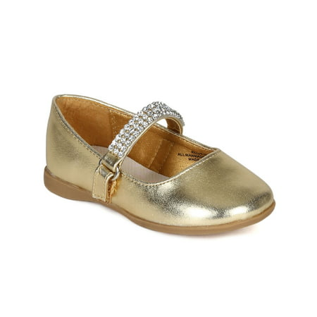 Silver Mary Janes For Girls (Little Angel CA07 Metallic Leatherette Round Toe Rhinestone Mary Jane Ballerina Flat (Toddler/ Little)