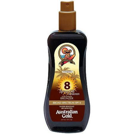 Australian Gold SPF 8 Spray Gel Sunscreen with Instant Bronzer, 8 fl oz