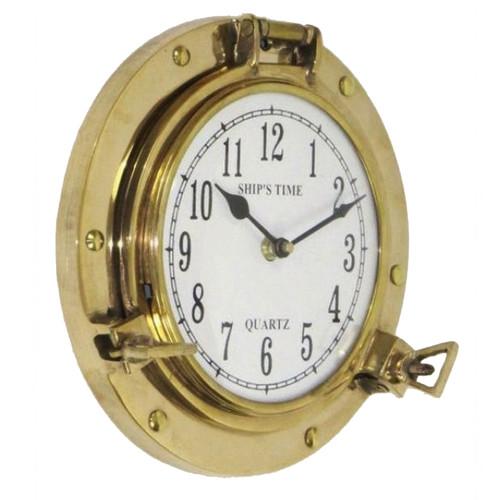EC World Imports 8.5'' Aged Brass Porthole Wall Clock by EC World Imports