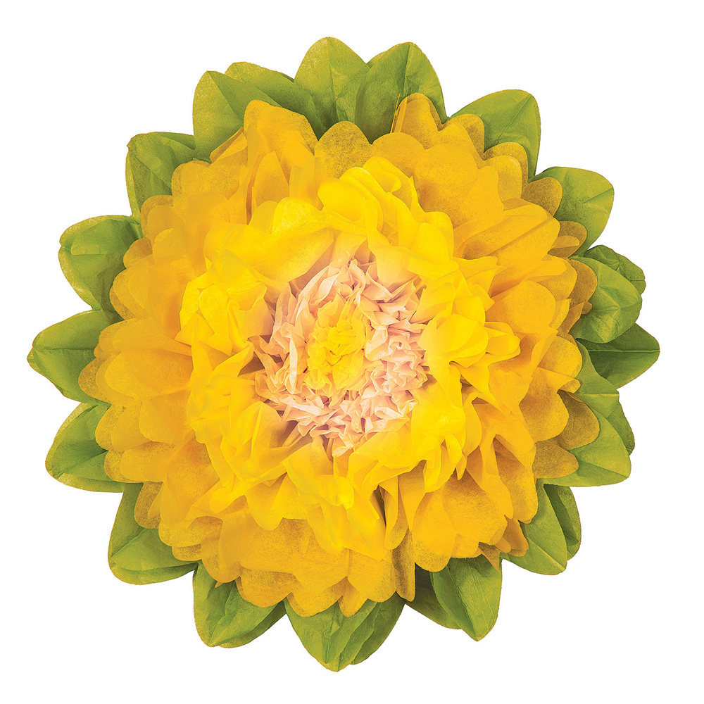 Luna Bazaar Giant Tissue Paper Flower (24-Inch, Yellow & Marigold Yellow)