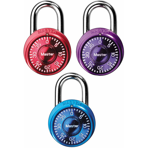 Master Lock Padlock 1533TRI Mini Dial Combination Lock, 1-9/16 in. Wide, Color Assortment, 3 Pack