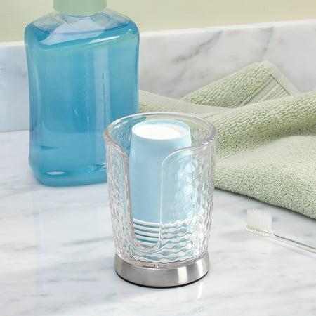 Interdesign Rain Disposable Paper Cup Dispenser For Bathroom Countertops Clear