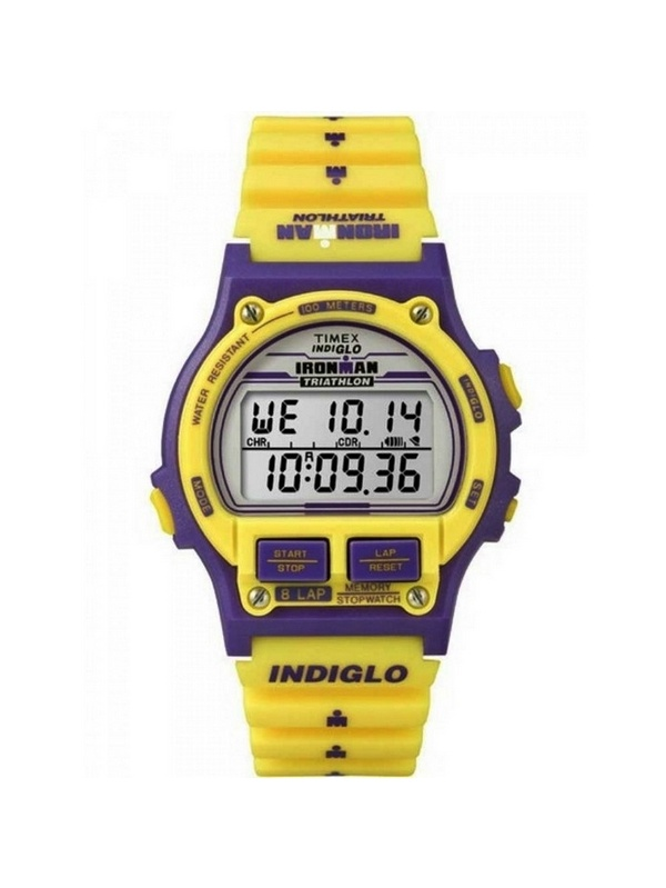 Timex T5K840 Ironman Unisex Yellow Resin Band With Grey Digital Dial Watch NWT
