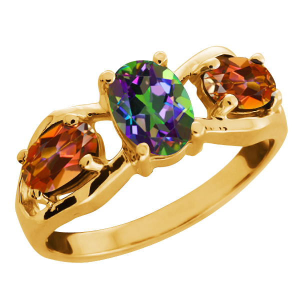 2.05 Ct Oval Green Mystic Topaz Gold Plated Sterling Silver Ring